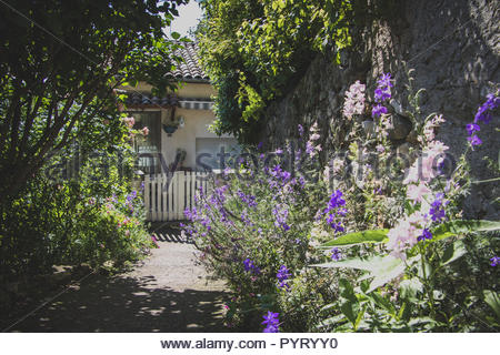 Medieval Village Dieulefit France Provence flowers at housing entrance home french housing beautiful houses in france travel photography - Stock Photo