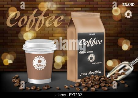 coffee cup with beans ads. 3d illustration of hot arabica coffee. Product paper bag package design with brick background. Vector - Stock Photo