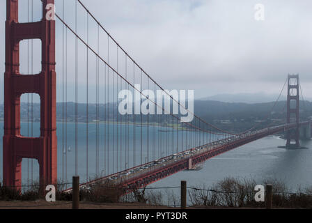 Group of youth people watching at Golden Gate Bridge and San Francisco downtown - Stock Photo