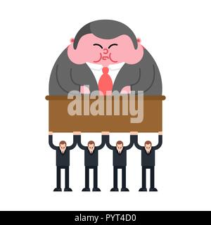 Workers carry boss. Leader concept business illustration - Stock Photo