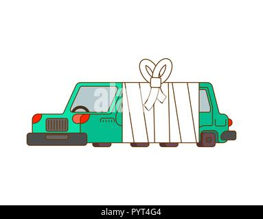 Car with bandages. Sick automobile in bandage. Auto help service - Stock Photo