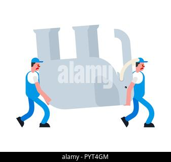 Movers and Elephant. Porters carry Big animal. Delivery service. Loader mover man holding. Moving Vector illustration - Stock Photo