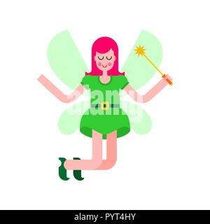 Fairy isolated. Little magical woman. Tiny creature with wings. Flying Mythical fabulous character and magic wand - Stock Photo