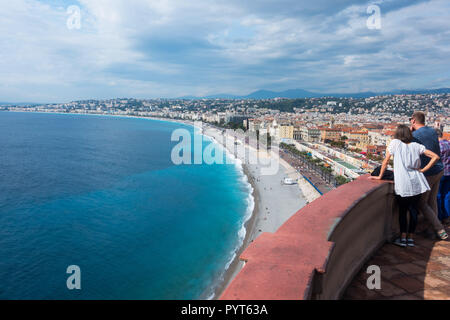 View of the Bay of Nice from the Colline du Chateau - Stock Photo