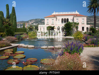Villa Ephrussi de Rothschild at Saint-Jean-Cap-Ferrat, French Riviera - Stock Photo