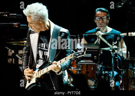 U2 plays O2 Arena on Tuesday 23 October 2018 held at O2 Arena, London. Pictured:  Adam Clayton, Larry Mullen Jr.. Picture by Julie Edwards. - Stock Photo