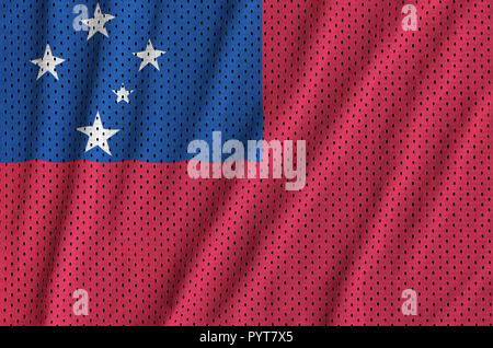 Samoa flag printed on a polyester nylon sportswear mesh fabric with some folds - Stock Photo