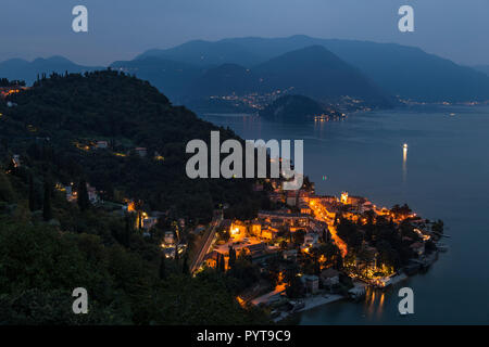 The town of Varenna at dusk on Lake Como in northern Italy