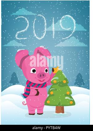 New Year greeting card with funny pig. Cute pig with Christmas tree and hand drawn lettering. Symbol of 2019 on the Chinese calendar. - Stock Photo