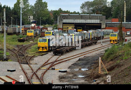 Network rail MPV's, multi-purpose vehicles stabled at Wigan Spring Branch maintenance depot on a Tuesday morning. Cw 6379 - Stock Photo
