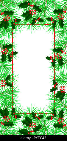 New Year, Christmas, Winter Holidays. Banner, invitation, flyer. Frame made of fir and holly branches. White background. Vertical layout. - Stock Photo