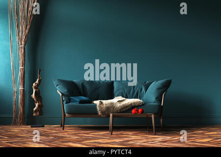 Home interior mock-up with green sofa, rope curtains and table in living room, 3d render - Stock Photo