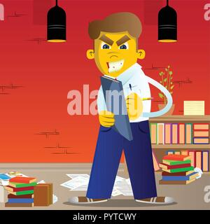 Yellow man writing on a books cover. Vector cartoon illustration. - Stock Photo
