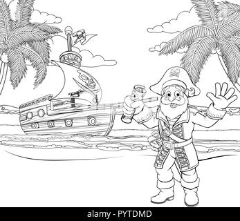 Cartoon Pirate on Beach Coloring Page - Stock Photo