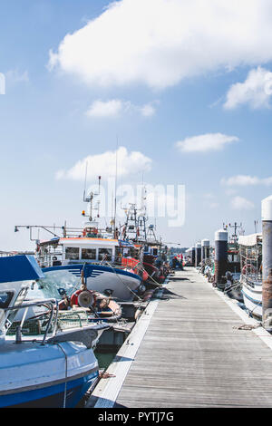 Fishing boats in the harbour of Santa Luzia, Tavira, Portugal - Stock Photo
