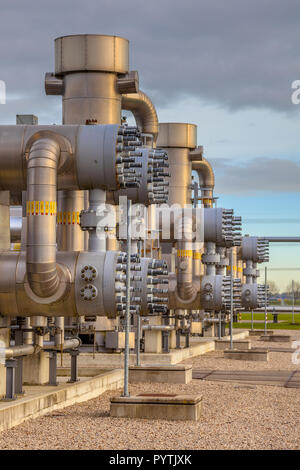 Detail of Recently upgraded Modern natural gas field  in the Netherlands - Stock Photo
