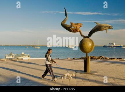 Paraiso del mar (Paradise of the Sea) sculpture by Octavio Gonzalez at Malecon, La Paz, Baja California Sur, Mexico - Stock Photo