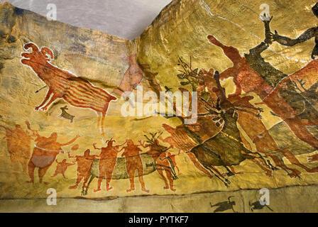 Cave paintings replicas at Museo San Ignacio, Baja California Sur, Mexico - Stock Photo