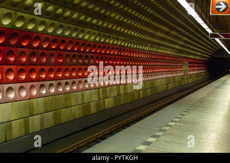 Station Staromestska of Prague metro, empty platform. Perspective view - Stock Photo