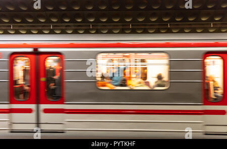 Prague, Staromestska metro station. Blur train carriage in motion - Stock Photo