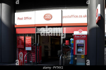 London, United Kingdom - October 18 2018:   The Frontage of Post Office and WH Smith branch on Praed St - Stock Photo