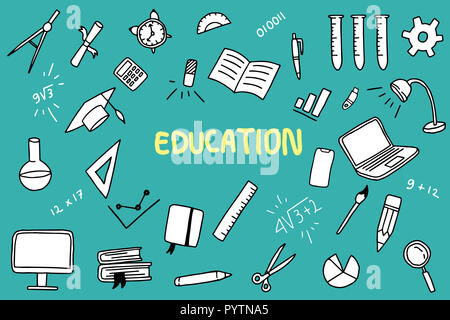 education doodle with color and educations object like note book ruler vector illustration - Stock Photo