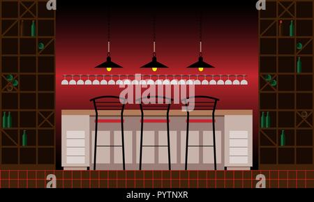 Drinking establishment. Interior of pub, cafe or bar. Bar counter, chairs and shelves with alcohol bottles. Wooden decor. Vector illustration in flat  - Stock Photo
