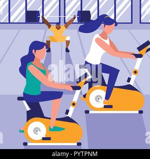 women on exercise bikes in the gym, colorful design. vector illustration - Stock Photo