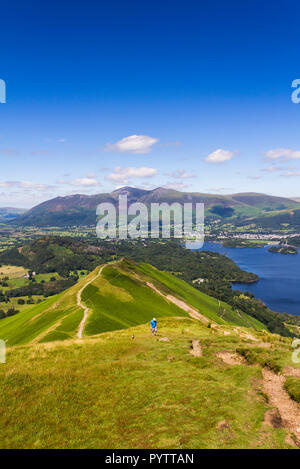 The well-worn footpath across Skelgill bank  leading to the summit of  Cat Bells (451 metres) near Keswick, Cumbria. - Stock Photo