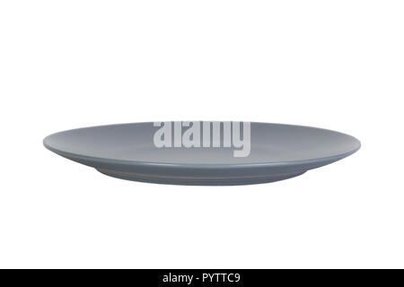 Empty dark blue plate isolated on white background with clipping path, front view. - Stock Photo