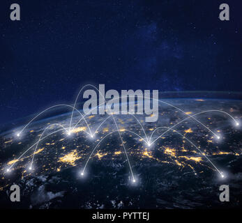 network connection technology, global business communication, planet image from NASA - Stock Photo