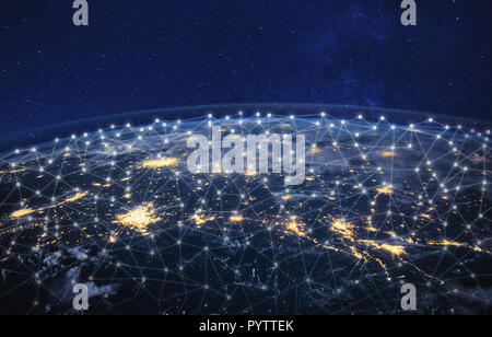 information technology and telecommunication, global network concept, planet Earth from space, business communication worldwide, original image furnis - Stock Photo