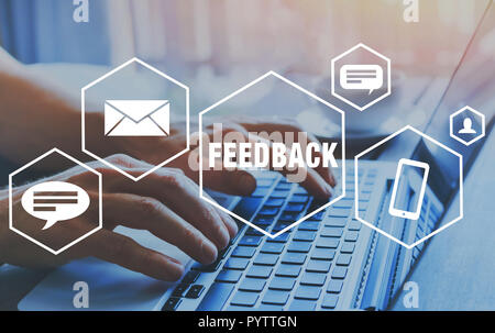 feedback concept, user comment rating of company online, writing review diagram, reputation management - Stock Photo