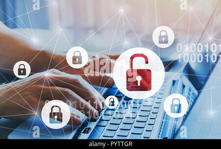 hacker attack and data breach, information leak concept, futuristic cyber  background with broken lock - Stock Photo