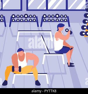 Avatar people training with dumbbells in the gym, vector illustration - Stock Photo