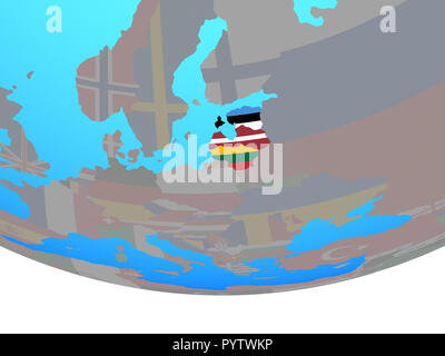 Baltic States with national flags on simple political globe. 3D illustration. - Stock Photo