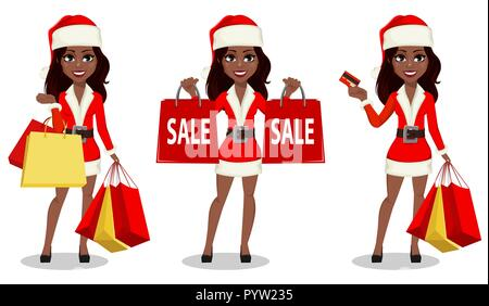 Merry Christmas and Happy New Year. African-American woman in Santa Claus costume, set of three poses. Cartoon character holds shopping bags and holds - Stock Photo