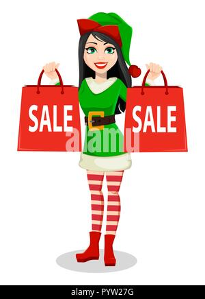 Merry Christmas and Happy New Year. Beautiful woman in costume of Elf. Lady Santa Helper cartoon character holds shopping bags for sale. Vector illust - Stock Photo