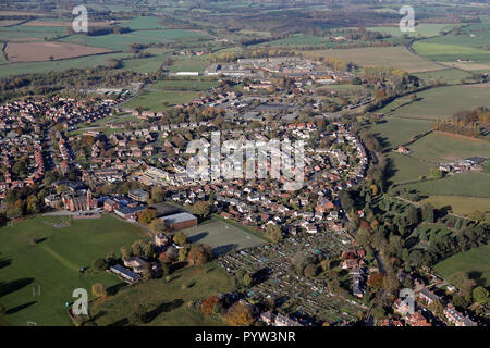 aerial view of Ripon looking north west along the Kirkby Road including the Grammar School and former army barracks, North Yorkshire - Stock Photo