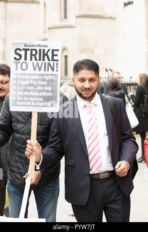 London, UK. 30th October 2018. Uber appeals against a ruling that its drivers have employment rights such as pay and holidays, before the Court of Appeal in the Royal Courts of Justice. The legal case began in October 2016 by Uber drivers James Farrar and Yaseen Aslam (pictured) winning before an Employment Tribunal. They are represented by employment solicitor Paul Jennings of Bates Wells Braithwaite. Credit: Joe Kuis / Alamy Live News - Stock Photo
