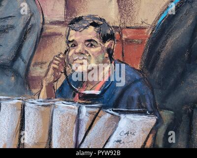 Nueva York, Estados Unidos. 30th Oct, 2018. Photographic reproduction of a drawing made by the artist Jane Rosenberg where Mexican drug trafficker Joaquin 'El Chapo' Guzmán appears during his hearing before a judge of the Southern District Court in Brooklyn, New York, USA, on 30 October 2018. 'El Chapo' Guzmán suffered a new setback today in a federal court in New York when the judge presiding over the case against him for drug trafficking refused a second time to postpone the start of his trial. Credit: Jane Rosenberg/EFE/Alamy Live News - Stock Photo