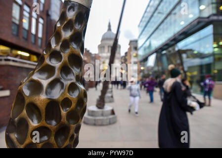 Millenium Bridge, London, UK. 30th October 2018. Nine wands installation near the Millenium Bridge to promote the new Fantastic Beasts film: Wizarding World Wands supporting J.K. Rowling charity Lumos. Credit: Matthew Chattle/Alamy Live News - Stock Photo