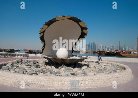 Funky giant pearl clam sculpture in Doha, Qatar - Stock Photo