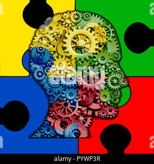 Autism brain function concept and autistic development disorder as a symbol of a communication and social behavior psychology as a human head. - Stock Photo