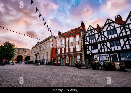 Lincoln's Castle Square at Sunset, England, United Kingdom - Stock Photo