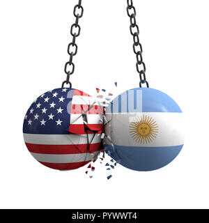 Relationship conflict between USA and Argentina. Trade deal concept. 3D Rendering - Stock Photo