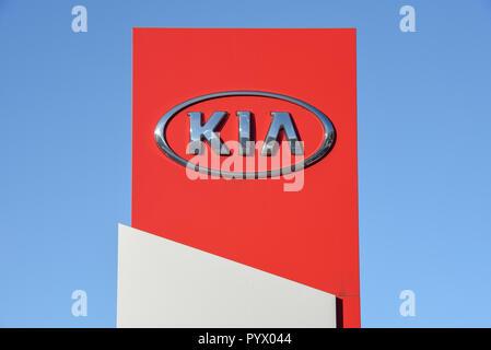 Lugano, Switzerland - 24 October 2018: Logo sign of KIA car dealer at Lugano on Switzerland - Stock Photo
