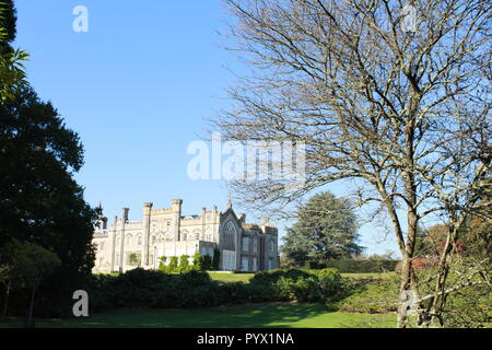 Sheffield Park House through the trees - Stock Photo