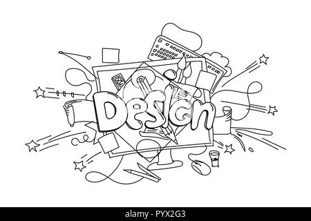 Design phrase. Vector hand drawn illustration isolated on white background - Stock Photo