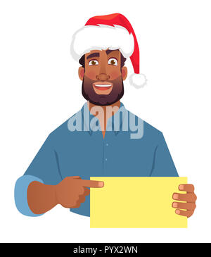 African man in christmas hat holding blank card. African american man pointing finger at card. illustration - Stock Photo
